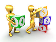 Men with cubes. Numbers Royalty Free Stock Photos