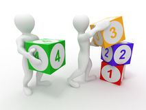 Men with cubes. Numbers Royalty Free Stock Photography