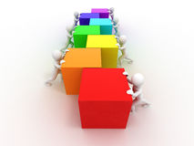 Men with cubes. Teamwork Royalty Free Stock Photography