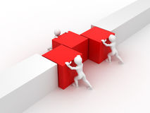 Men with cubes. Teamwork stock illustration