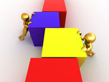 Men with cubes. Teamwork Stock Images
