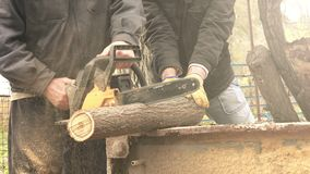 Men cutting wood logs with chainsaw stock video footage