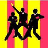 Men dancing. Illustration. Three stylish men in black business suits are dancing Stock Images