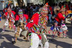 Men dancing at the festival of indigenous people in South America, north Chile