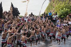 Balinese temple dance, Kecak dance at Uluwatu temple, Bali, Indonesia stock photography