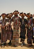Men dancing Yaake dance and sing at Guerewol festival in InGall village, Agadez, Niger Royalty Free Stock Photography