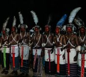 Men dancing Yaake dance and sing at Guerewol festival in InGall village, Agadez, Niger Royalty Free Stock Images