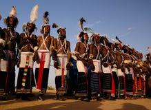 Men dancing Yaake dance and sing at Guerewol festival in InGall village, Agadez, Niger. Men dancing Yaake dance and sing at Guerewol festival - 23 september 2017 Royalty Free Stock Photography