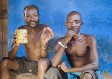 Men from Dassanech tribe drink in village bar. Omorato, Ethiopia Stock Images