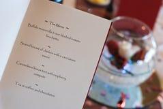Menú de la boda Fotos de archivo libres de regalías