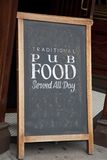 Menú de la comida del Pub Foto de archivo