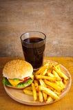 Menú de la hamburguesa de los alimentos de preparación rápida Foto de archivo