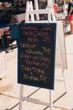 Menú de la pizarra en Croacia Foto de archivo