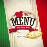 Menú de la pizzería Fotografía de archivo