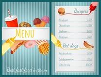Men? de los alimentos de preparaci?n r?pida Imagenes de archivo