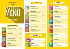 Men? de los alimentos de preparaci?n r?pida Sistema de iconos de la comida y de las bebidas Diseño plano del estilo Fotografía de archivo libre de regalías