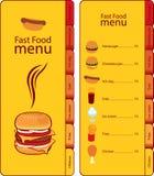 Menú de los alimentos de preparación rápida Imagen de archivo libre de regalías