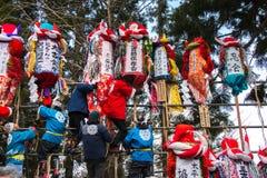 Men and Decorative Poles stock photo