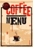 Menú del café Cartel retro tipográfico para el restaurante, el café o el café Ilustración del vector Fotografía de archivo libre de regalías