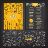 Menú del café del restaurante, diseño de la plantilla Fotos de archivo