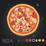 Menú del restaurante de la pizza Ingredientes para el café Ilustración del vector Fotos de archivo libres de regalías