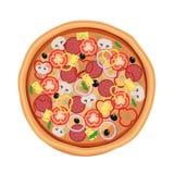 Menú del restaurante de la pizza Ingredientes para el café Ilustración del vector Fotografía de archivo