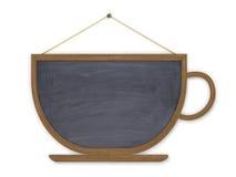 Menú del tablero de madera en una taza Fotografía de archivo libre de regalías