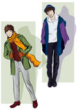 Men in the demi-season clothes royalty free illustration