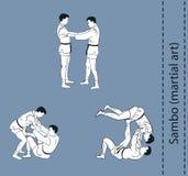 Men demonstrate the fight of SAMBO. Illustration, men demonstrate the fight of SAMBO Stock Photography