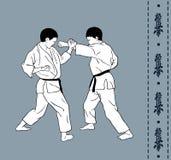 Men demonstrate karate,. Hieroglyph of karate Royalty Free Stock Photography