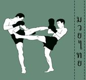 Men demonstrate Myai Thai. Illustration, men demonstrate Myai Thai Stock Image