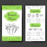 Menü der Schablone zum Nachtisch mit süßen geschmackvollen Kuchen Hand gezeichnetes Design für Plakat, Restaurantmenü Bäckereiski Stockbild