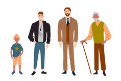 Men. Different ages.Child, teenager, adult and elderly person. Generation of people, family, male line. Men. Different ages.Child, teenager, adult and elderly vector illustration