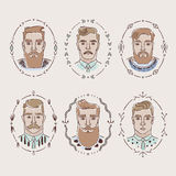 Men with different hairstyles, beards and mustaches. Collection of vector illustrations royalty free illustration