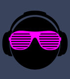 Men dj in headphone. vector print illustration Royalty Free Stock Image