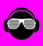Men dj in headphone. vector print illustration Stock Images