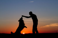Men & Dog Silhouette. Beautiful Men & Dog Silhouette / Sunset Landscape Royalty Free Stock Photography