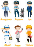 Men doing different kinds of jobs. Illustration Stock Photography