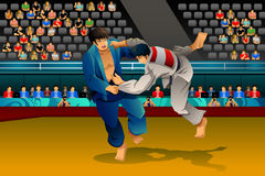 Men Doing Judo in the Competition Stock Photos