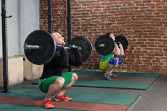 Men doing squat with barbells royalty free stock photo