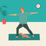 Men doing yoga at home together with his dog. Healthy lifestyle illustration in vector. Stock Image