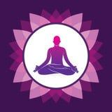 Men doing yoga meditation position. Men doing yoga meditation in lotus position, pink leaf round frame Stock Photography
