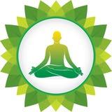 Men doing yoga meditation position. Yoga men practice lotus pose green leaf round frame, yoga day concept design Stock Photo