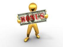Men with dollar. bonus Stock Images
