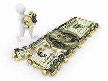 Men with dollar from parts of puzzle. 3d royalty free illustration