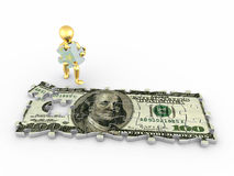 Men with dollar from parts of puzzle. 3d Royalty Free Stock Photo