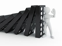 Men with domino. On white background. 3d Royalty Free Stock Photography