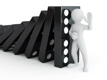 Men with domino Stock Photo
