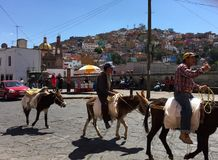 Men on donkeys. Men riding donkeys in Guanajuato Stock Photography
