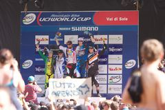 Men downhill podium Royalty Free Stock Image